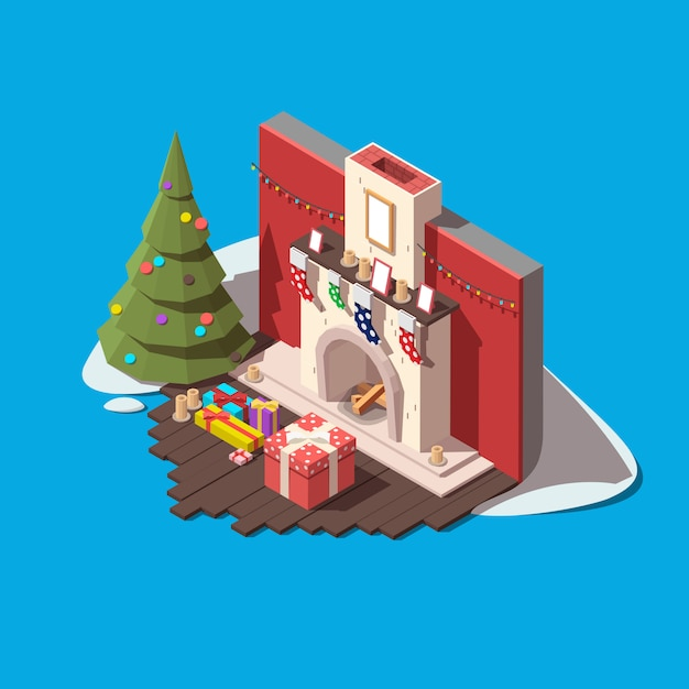 Part of the room with fireplace, christmas tree and gift boxes Premium Vector