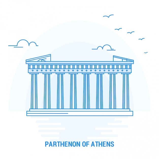 Партенон афины blue landmark Premium векторы