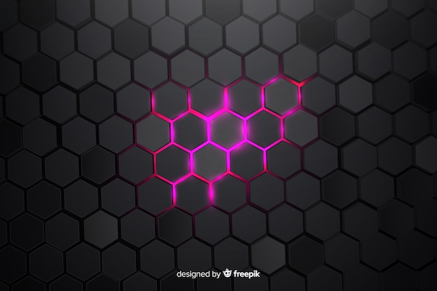 Partially lit technological honeycomb background Free Vector