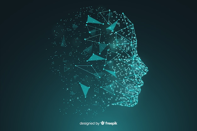 Particle artificial inteligence face background Free Vector