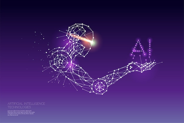 The particles, geometric art, line and dot of ai technology. Premium Vector