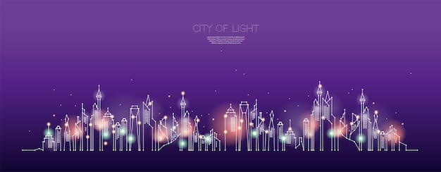The particles, geometric art, line and dot of city night time. Premium Vector