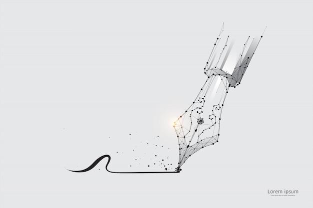The particles, geometric art, line and dot of dip pen. Premium Vector