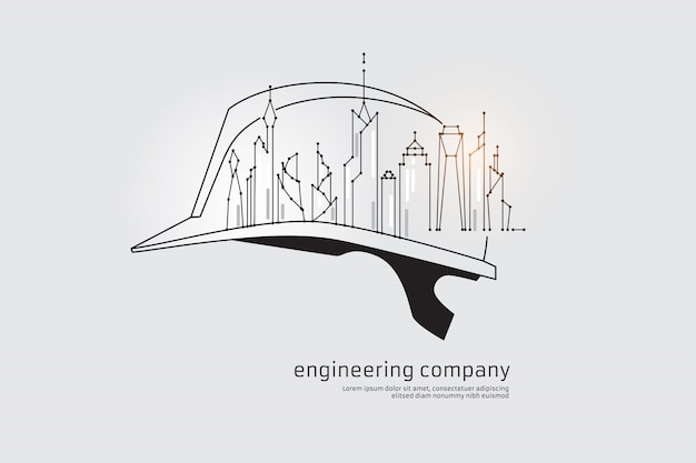 The particles, geometric art, line and dot of engineering Premium Vector