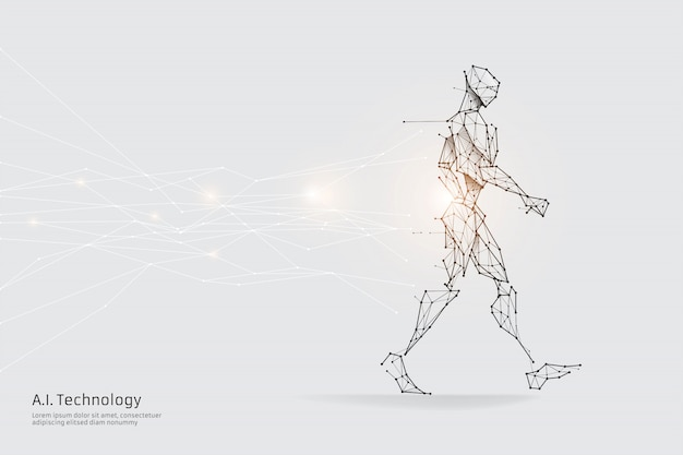 The particles, geometric art, line and dot of human walking. Premium Vector