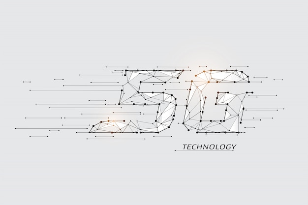 The particles, geometric art, line and dot of internet speed. Premium Vector