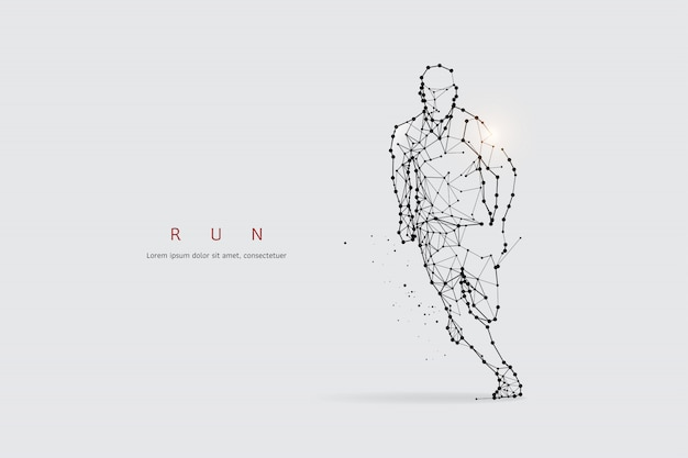 Particles, geometric art, line and dot of running Premium Vector