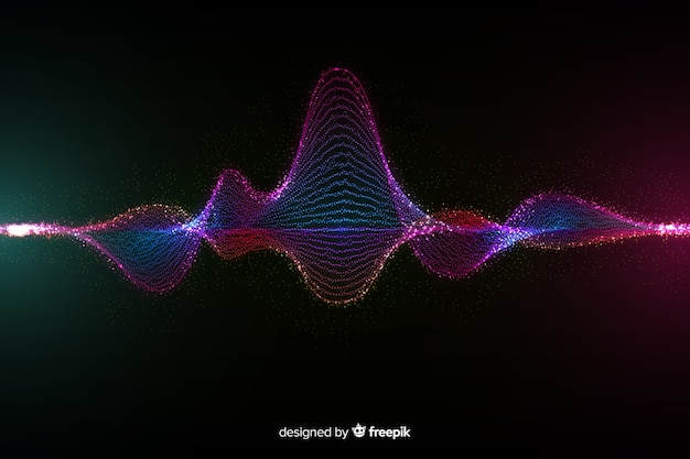 Particles sound wave background Free Vector
