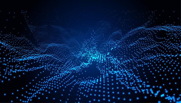 Particles technology blue landscape digital background Free Vector