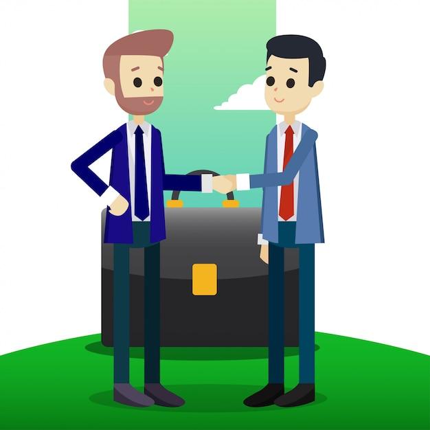 Partner deal illustration Premium Vector