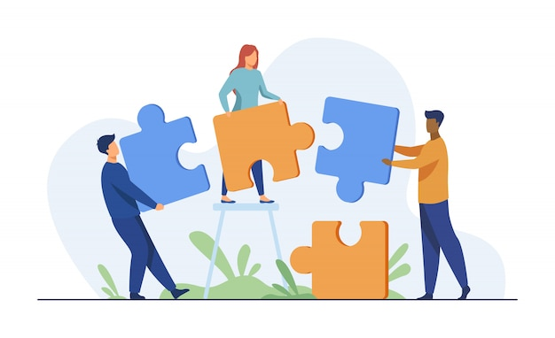 Partners holding big jigsaw puzzle pieces Free Vector