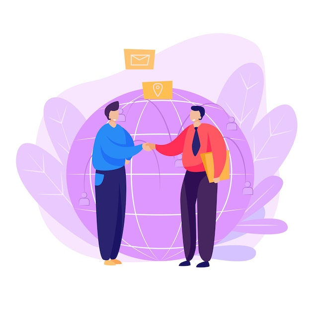 Partners shaking hands landing page Free Vector