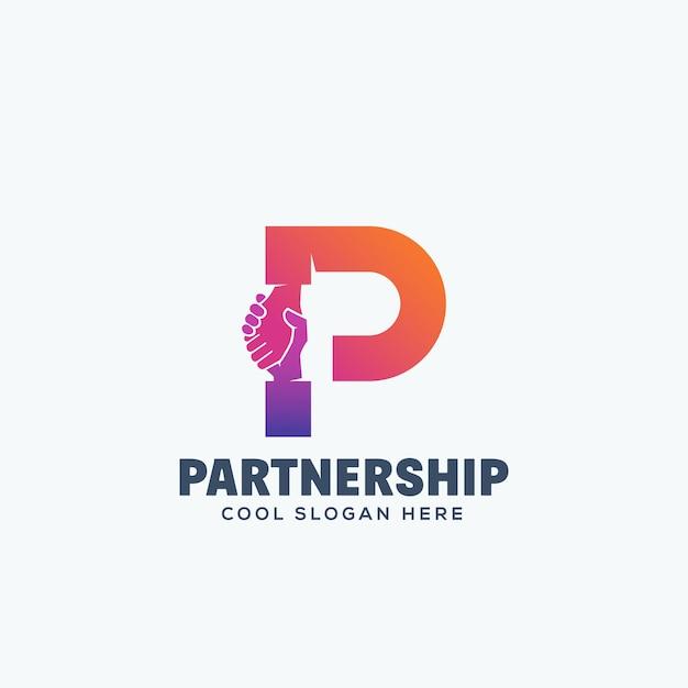 パートナーシップの概念。手紙p.emblemまたはロゴのテンプレートに組み込まれたハンドシェイク。 Premiumベクター