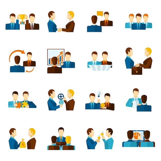 Partnership flat icons set Free Vector