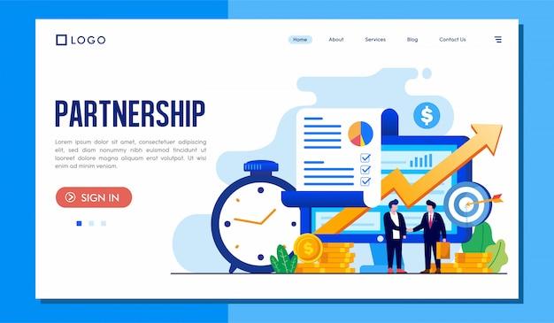 Partnership landing page website Premium Vector