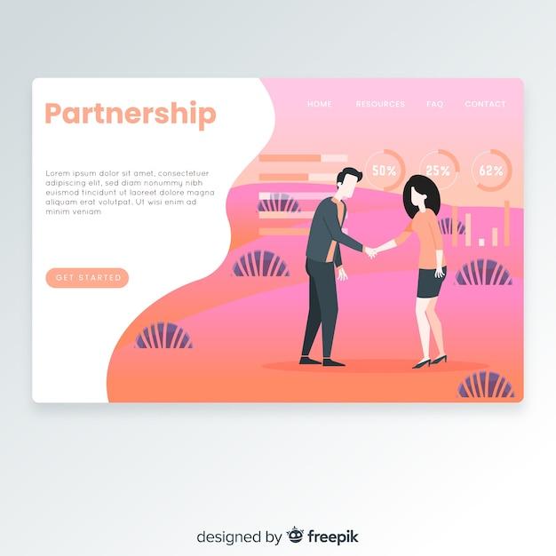 Partnership landing page Free Vector