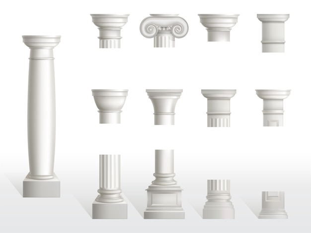 Parts of ancient column, base, shaft and capital set. ancient classic ornate pillars of roman or greece architecture, white marble stone. tuscan, doric, ionic order. realistic 3d vector illustration Free Vector