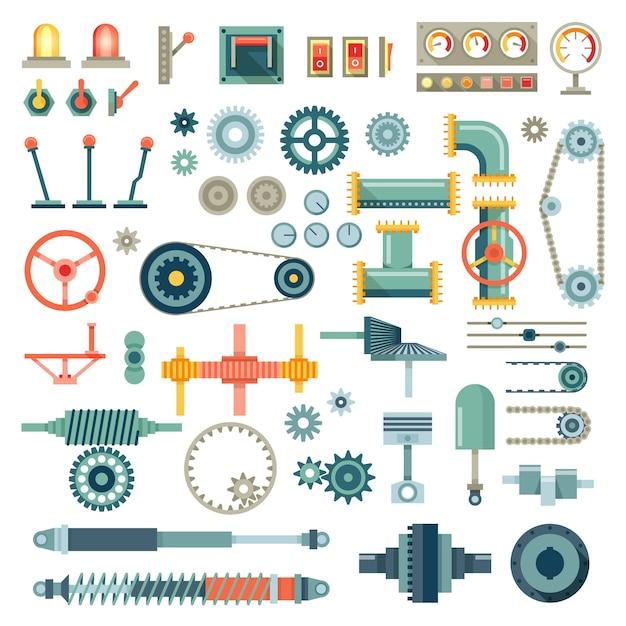 Set di icone piane di parti di macchine. meccanica dell'ingranaggio, parte dell'attrezzatura, meccanico del motore tecnico di industria Vettore gratuito