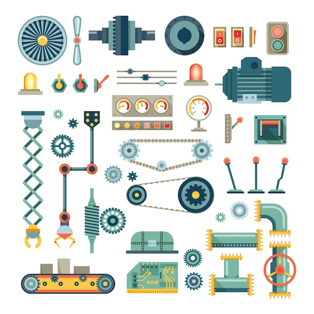 Parts of machinery and robot flat icons set.  mechanical equipment for industry, technical engine mechanic, pipe and valve, absorber and  button Free Vector