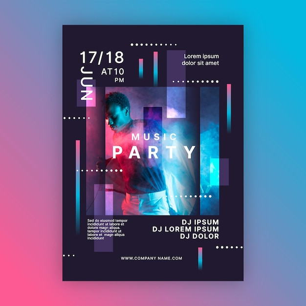 Party all night music event poster template Premium Vector