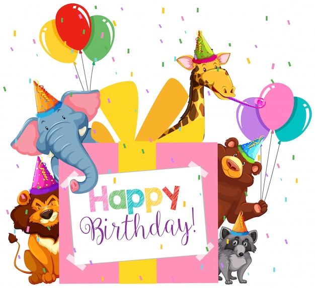 Party animal theme for kids Free Vector