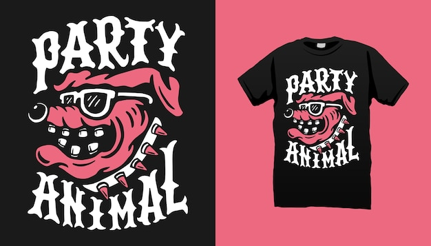 파티 동물 Tshirt 디자인 프리미엄 벡터