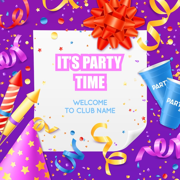 Party announcement invitation festive colorful template Free Vector
