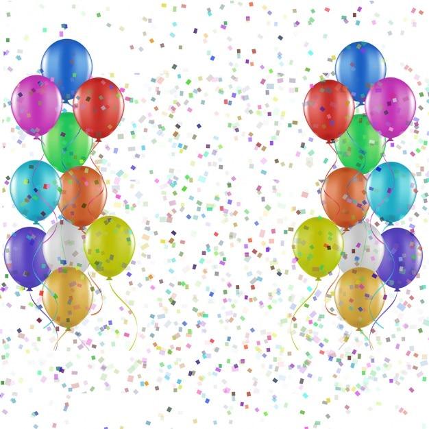 Партии фон из воздушных шаров и конфетти Бесплатные векторы