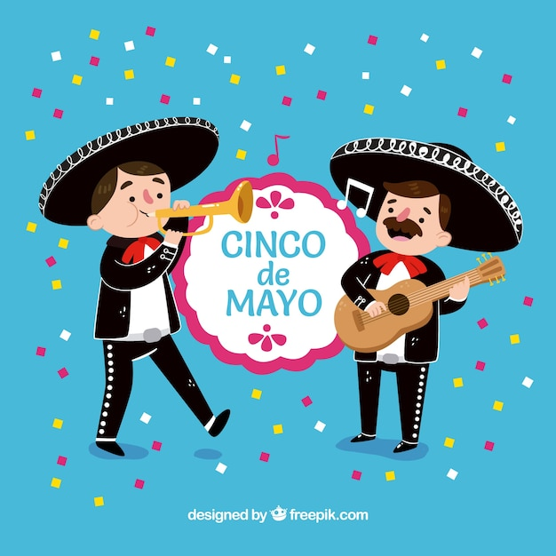 Party background of cinco de mayo with mariachis Free Vector