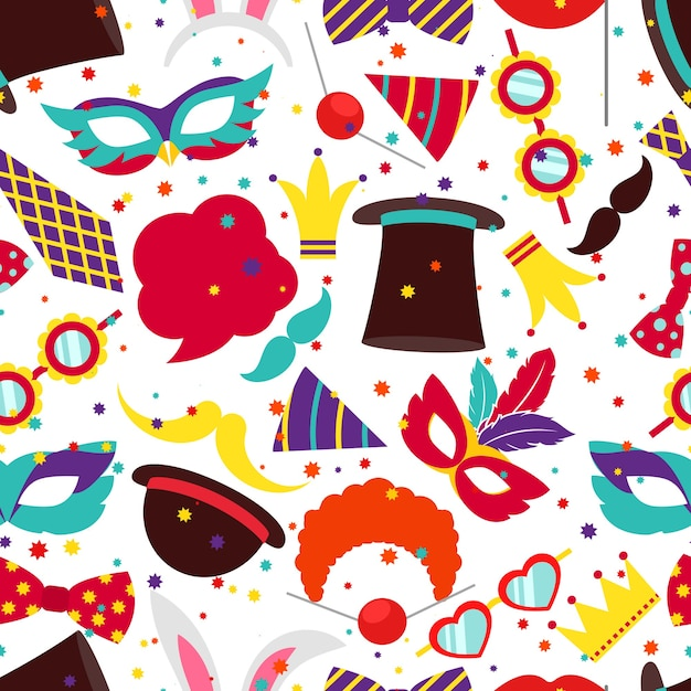 Партия фон или карнавальный узор. маска и цилиндр, кроличьи уши, векторные иллюстрации Бесплатные векторы