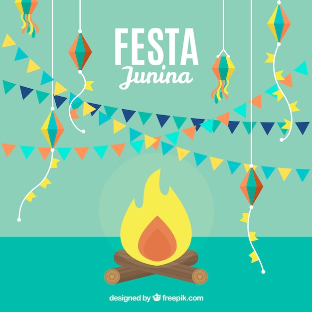 Party background with bonfire and garlands Free Vector