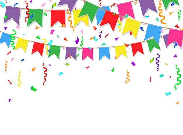 Party background with colorful flags and confetti Vector ...
