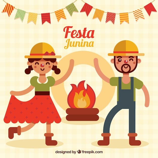 Party background with couple dancing in flat\ design