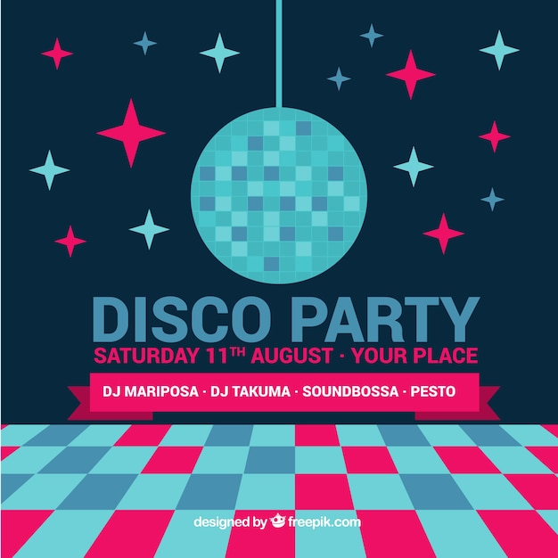 Party background with disco ball Free Vector