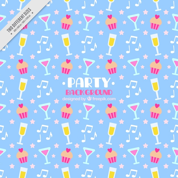 Party background with drinks and cupcakes in\ flat design