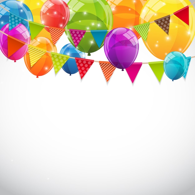 Party background with flags and balloons Premium Vector