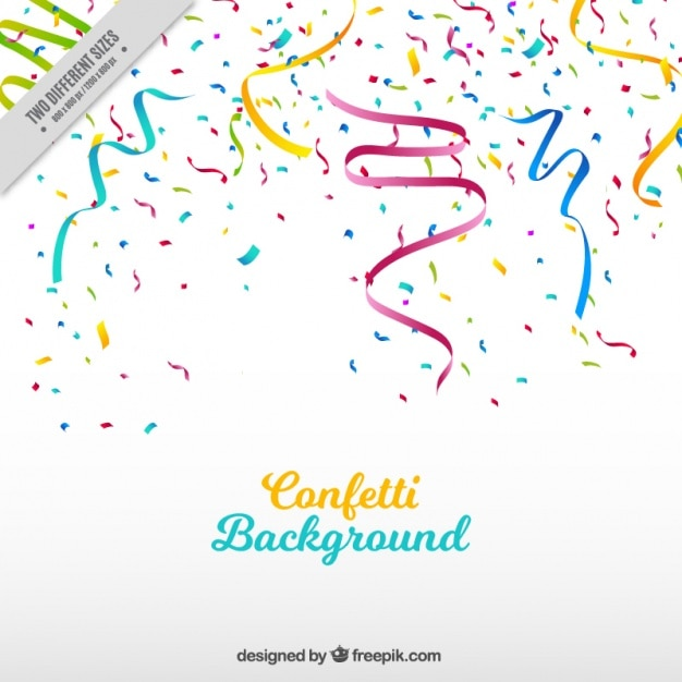 Party background with streamer and colored confetti Free Vector
