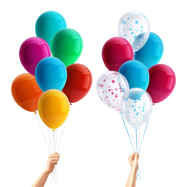 Party balloons in hand Free Vector