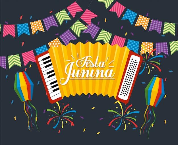 Party banner with accordion to festa junina Premium Vector