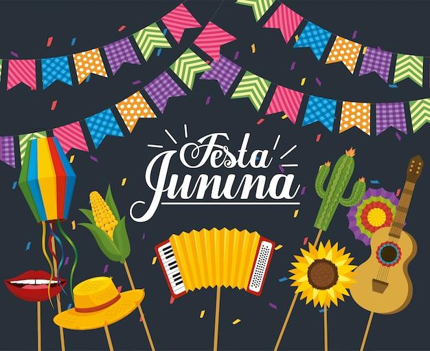 Партийный баннер с вечеринкой festa junina Premium векторы