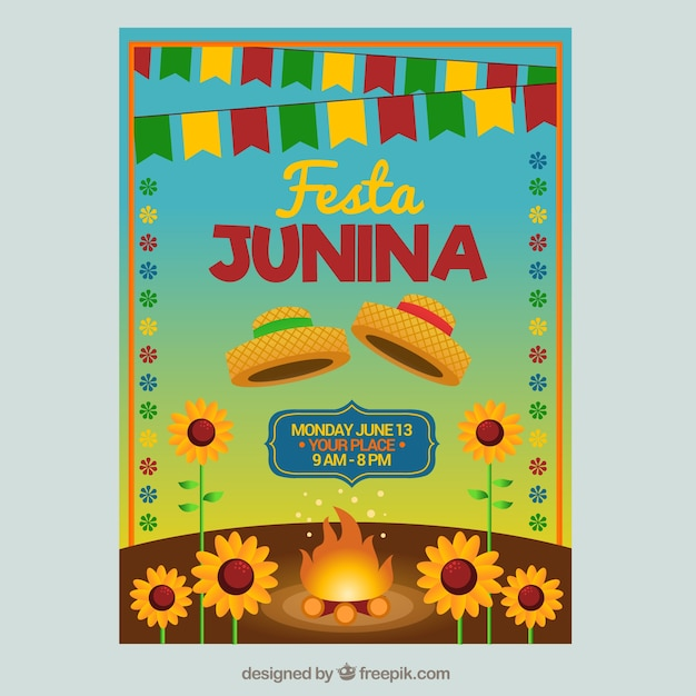 Party brochure with bonfire and\ sunflowers