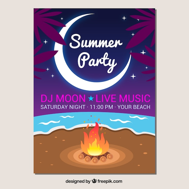 Party brochure with bonfire on the beach Vector   Free Download