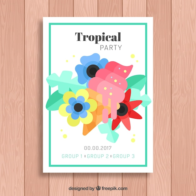 Party brochure with ice cream and tropical flowers in flat design Free Vector