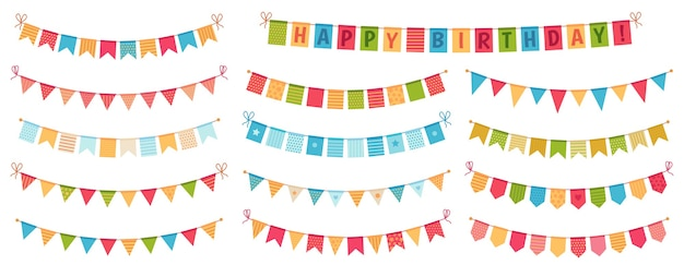 Party bunting. color paper triangular flags collected and draped in garlands, happy birthday buntings Free Vector
