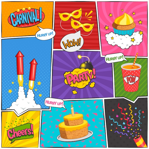 Party and carnival comic page design with fun symbols flat isolated vector illustration Free Vector