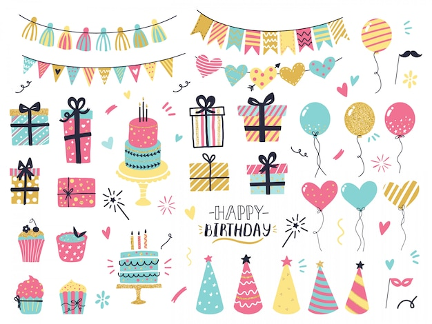 Празднование партии рисованной элементы. детали поздравительной открытки ко дню рождения, разноцветные воздушные шары, гирлянды, кексы, конфетти и пирожные со свечами. приветствие, набор пригласительных билетов Premium векторы