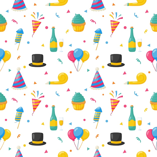 Party celebration seamless pattern. birthday icons. carnival festive items. vector illustration. Premium Vector