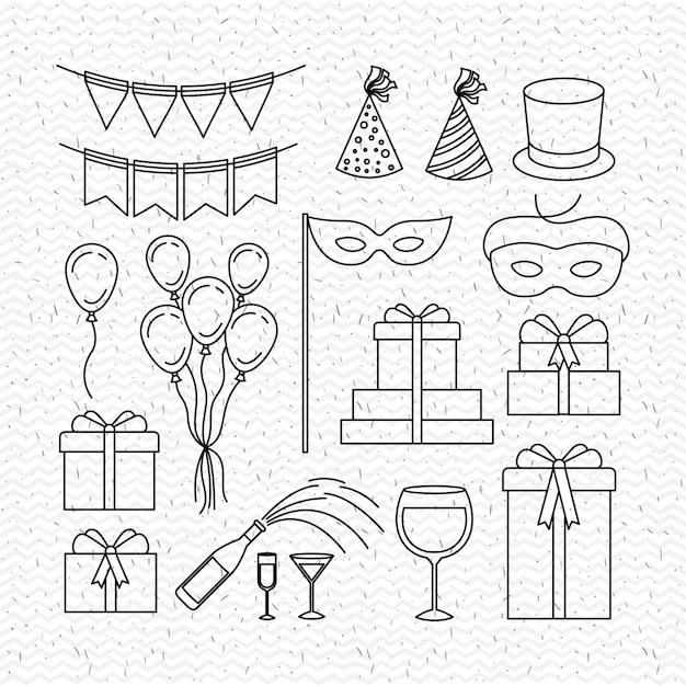 Party celebration set icons Premium Vector