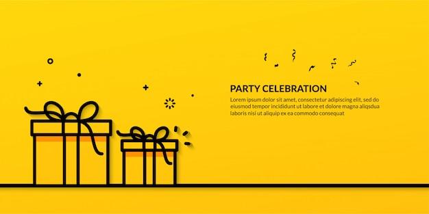 선물 상자의 개요 일러스트와 함께 파티 축하 프리미엄 벡터