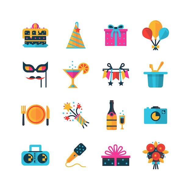 Party color icons set Free Vector